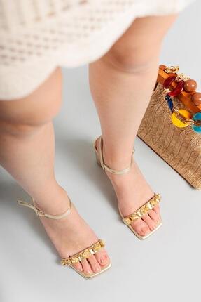 Limoya Kadın Nora Altın Taşlı Ince Topuklu Sandalet