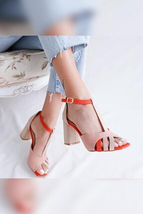 Limoya Kadın Pudra Portakal Ten Topuklu Sandalet