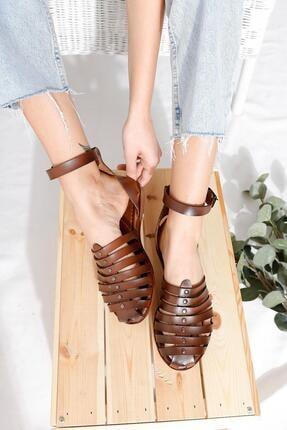 Limoya Kadın Taba Hakiki Deri Parmakları Kapatan Bodrum Sandalet