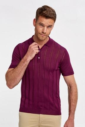 Hemington İpek Karışımlı Çizgili Bordo Triko Polo  T-shirt
