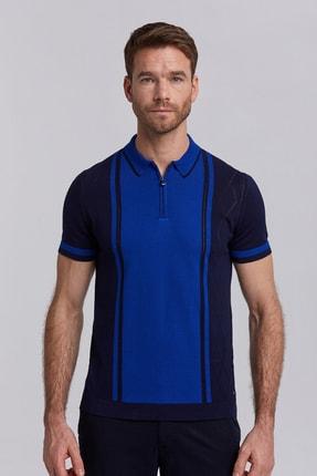 Hemington Lacivert Çizgili Fermuarlı Triko Polo T-shirt
