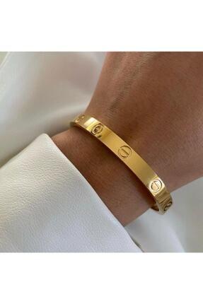 JADENNE OFFİCİAL Cartier Gold Reng Taşsız Çelik 19 Cm Klipsli Kalın Bilezik Bileklik