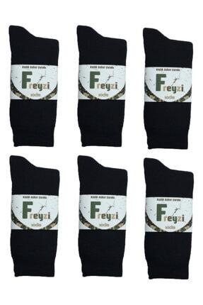 freyzi Erkek Siyah Kışlık Kalın Asker Çorabı 12'li