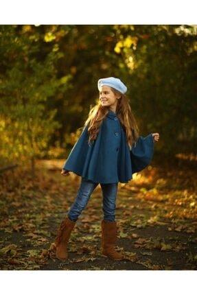 Hilal Akıncı Kids Kız Çocuk Mavi Kapüşonlu Düğmeli Kaşe Panço