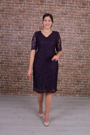 Nidya Moda Büyük Beden Kadın Mor Dantel Elbise-4161m