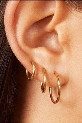 SHESTAKI Kadın Gold Renk Cerrahi Çelik Halka Küpe 3'lü