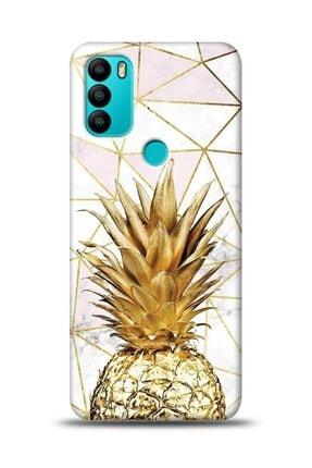 MobilCadde General Mobile Gm 21 Plus Uyumlu Gold Pineapple 2 Resimli Kılıf