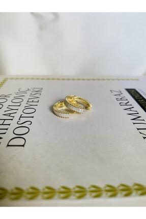 GİONNA 925 Ayar Gümüş Beyaz Taşlı Gold Halka Küpe