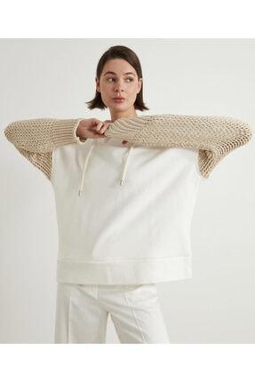 İpekyol Kadın Beyaz Triko Mix Sweatshirt