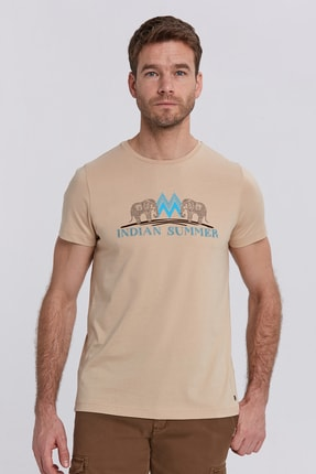 Hemington Erkek Camel Hint Desen Bisiklet Yaka Pamuk T-Shirt