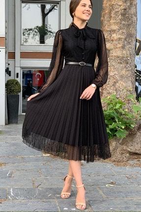 Elbise Delisi Siyah Boyundan Bağlamalı Dantel Detay Piliseli Abiye Elbise