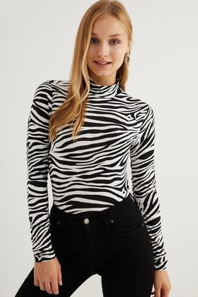 Bipantolon Kadın Siyah Zebra Desenli Body