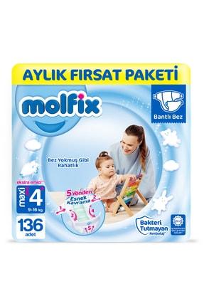 Molfix 3d Bebek Bezi Beden 4 Maxiplus Aylık Fırsat Paketi 136 Adet