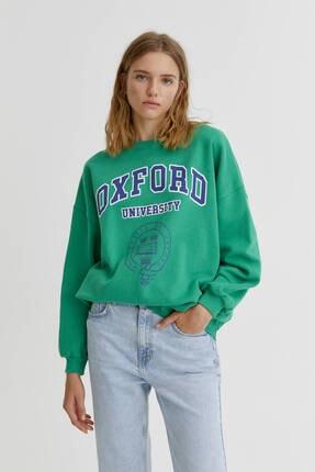 Pull & Bear Yeşil Oxford Sweatshirt