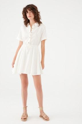 Mavi Kadın Düğmeli Beyaz Elbise 131125-34519 131125-34519