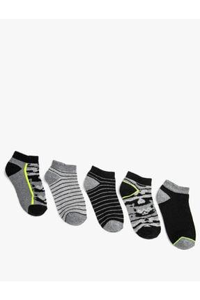 Koton Erkek Çocuk Gri 5 Li Çizgili Patik Çorap