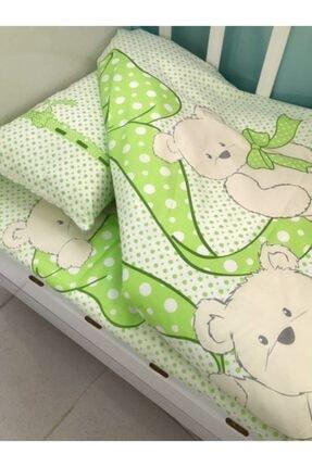 Bebek Özel Bebek Çocuk Pamuklu Nevresim Takımı 100x150 Yeşil Ayıcıklı