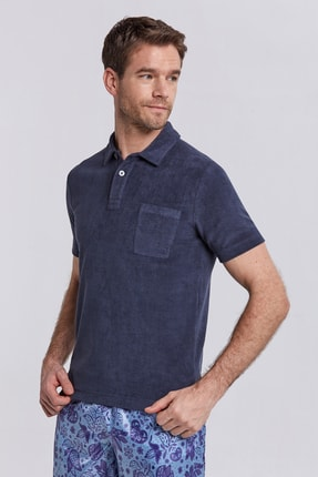 Hemington Havlu Kumaş Lacivert Polo Yaka T-shirt