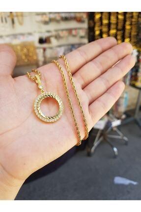 yılmaz gold 24 Ayar Altın Kaplama Çeyrek Altın Çerçevesi Kolye 60 Cm Zincir