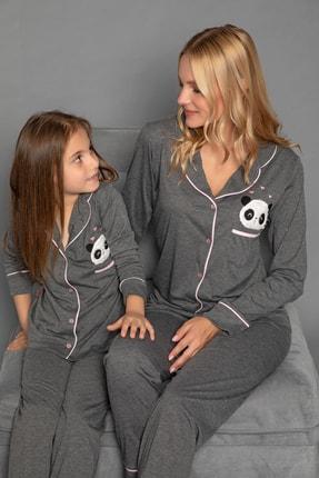 ELİTOL Antrasit Pamuklu Likrali Anne-Kiz Düğmeli Pijama Takim