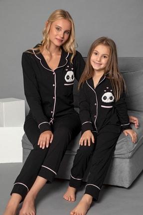 ELİTOL Siyah Pamuklu Likrali Anne-Kiz Düğmeli Pijama Takim