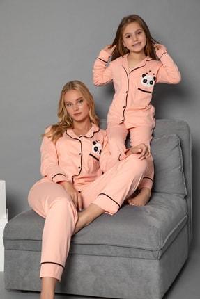 ELİTOL Kadın Somon Pamuklu Likrali Düğmeli Pijama Takim
