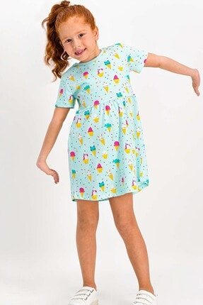 ROLY POLY Kız Çocuk Nil Yeşil Kısa Kollu Elbise