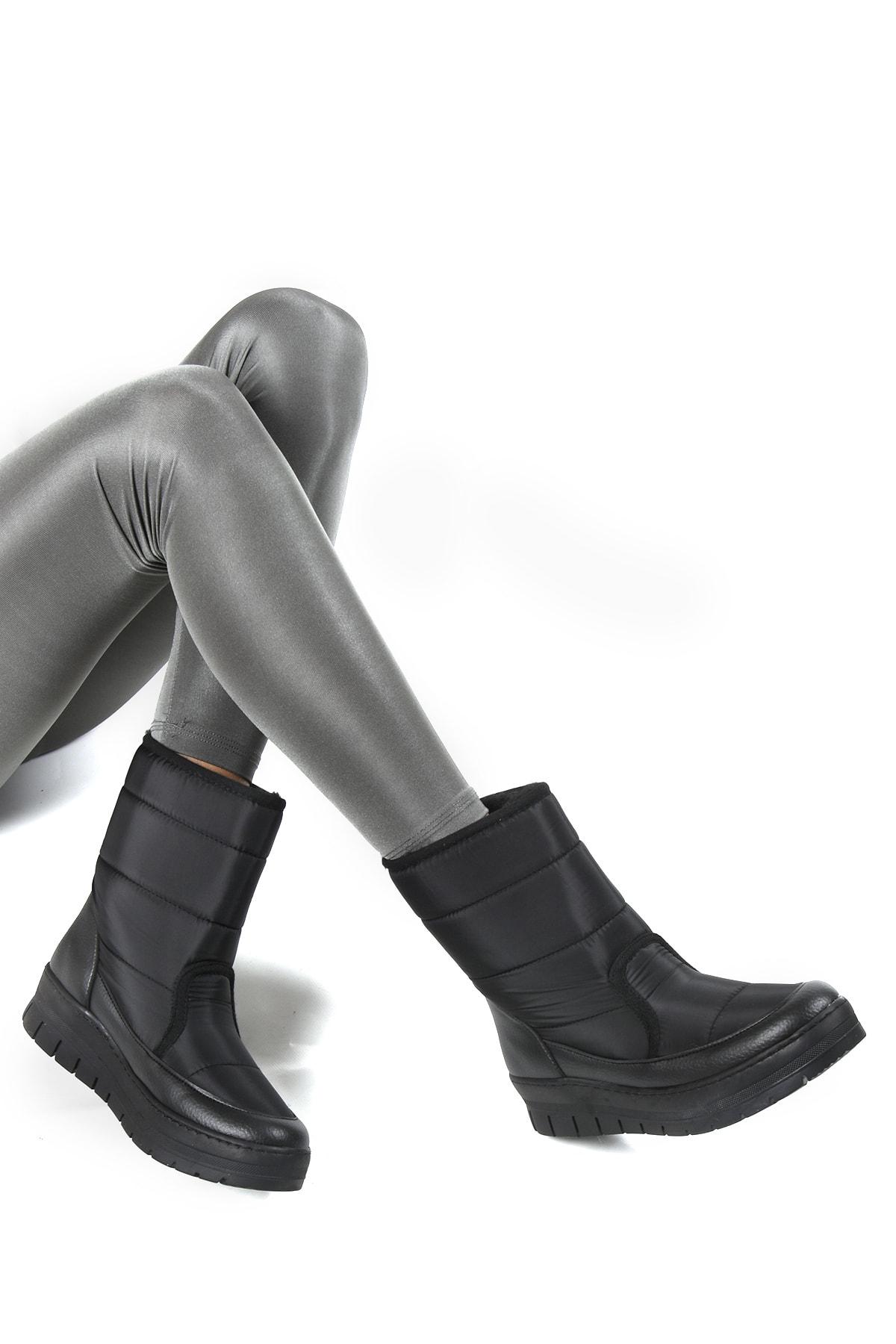 Sapin Kadın Siyah Suni Kürklü Kar Botu 33500 1