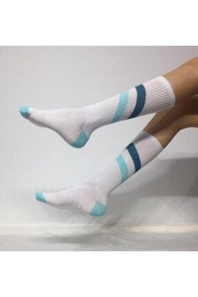 ADEL ÇORAP Unisex Beyaz Şeritli Soket Çorap