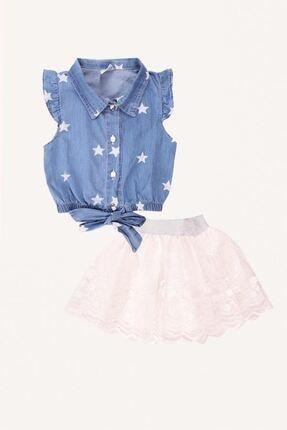 Zafoni Kız Çocuk Mavi Etek Gömlek Takım