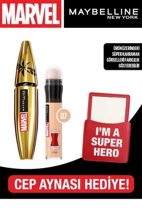 Maybelline New York Mny Marvel Colossal Maskara + Instant Eraser Kapatıcı 07 Sand + Cep Aynası Hediye