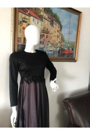 Sude Belden Detaylı Şık Bayan Tesettür Abiye Elbise