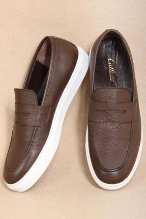 CZ London Erkek Kahverengi Hakiki Deri Bağcıksız Comfort Loafer Spor Ayakkabı