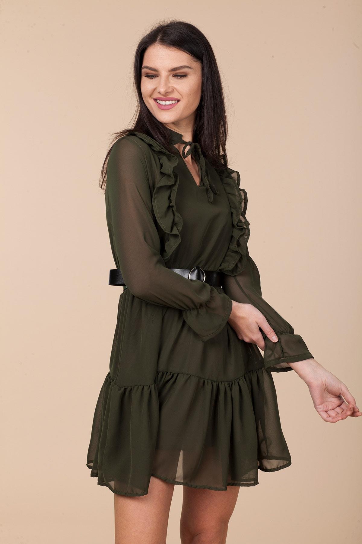 Mossta Kadın Haki Bel Lastikli Fırfırlı Elbise 2