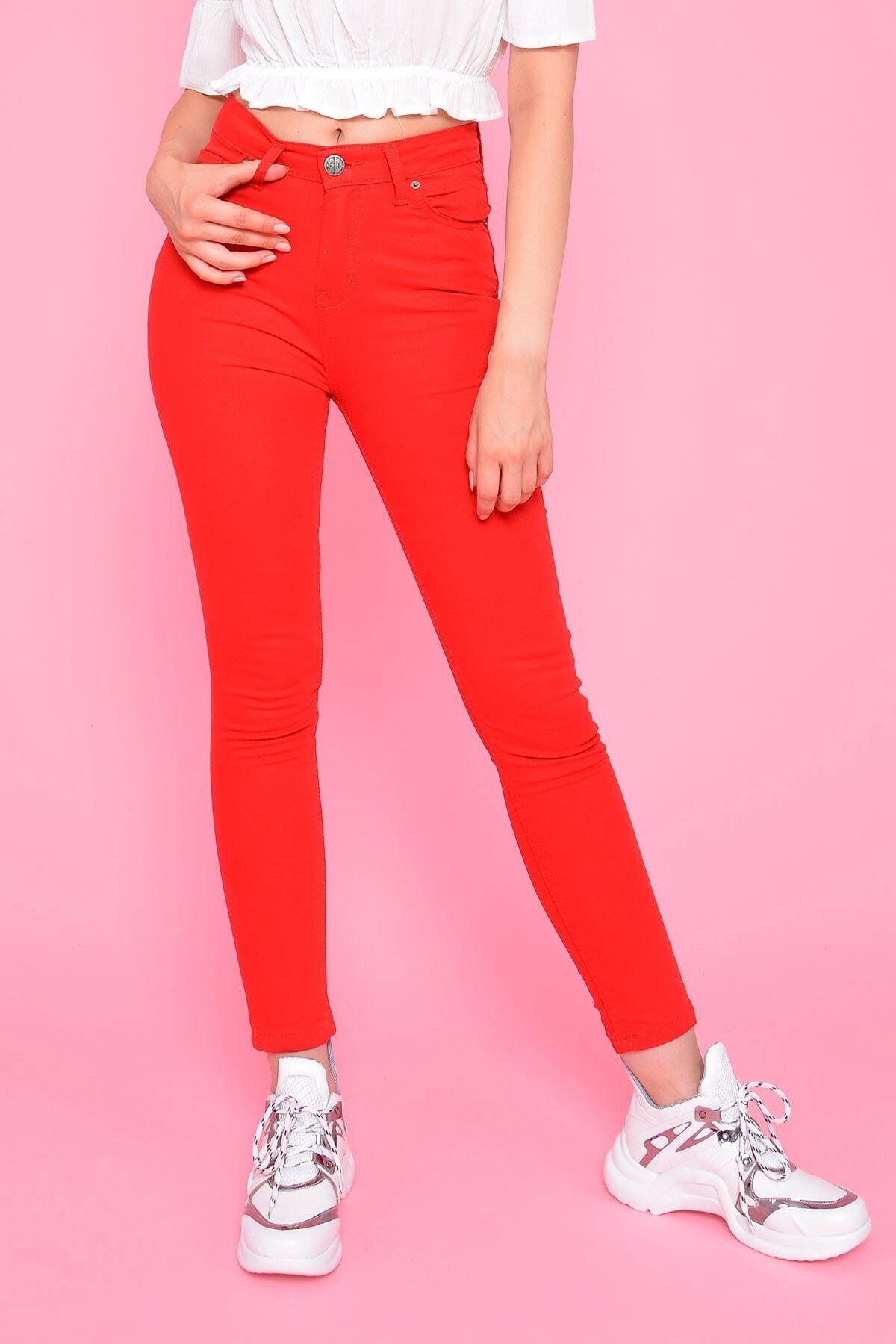 Mossta Kadın Kırmızı Yüksel Bel Gabardin Pantolon 1