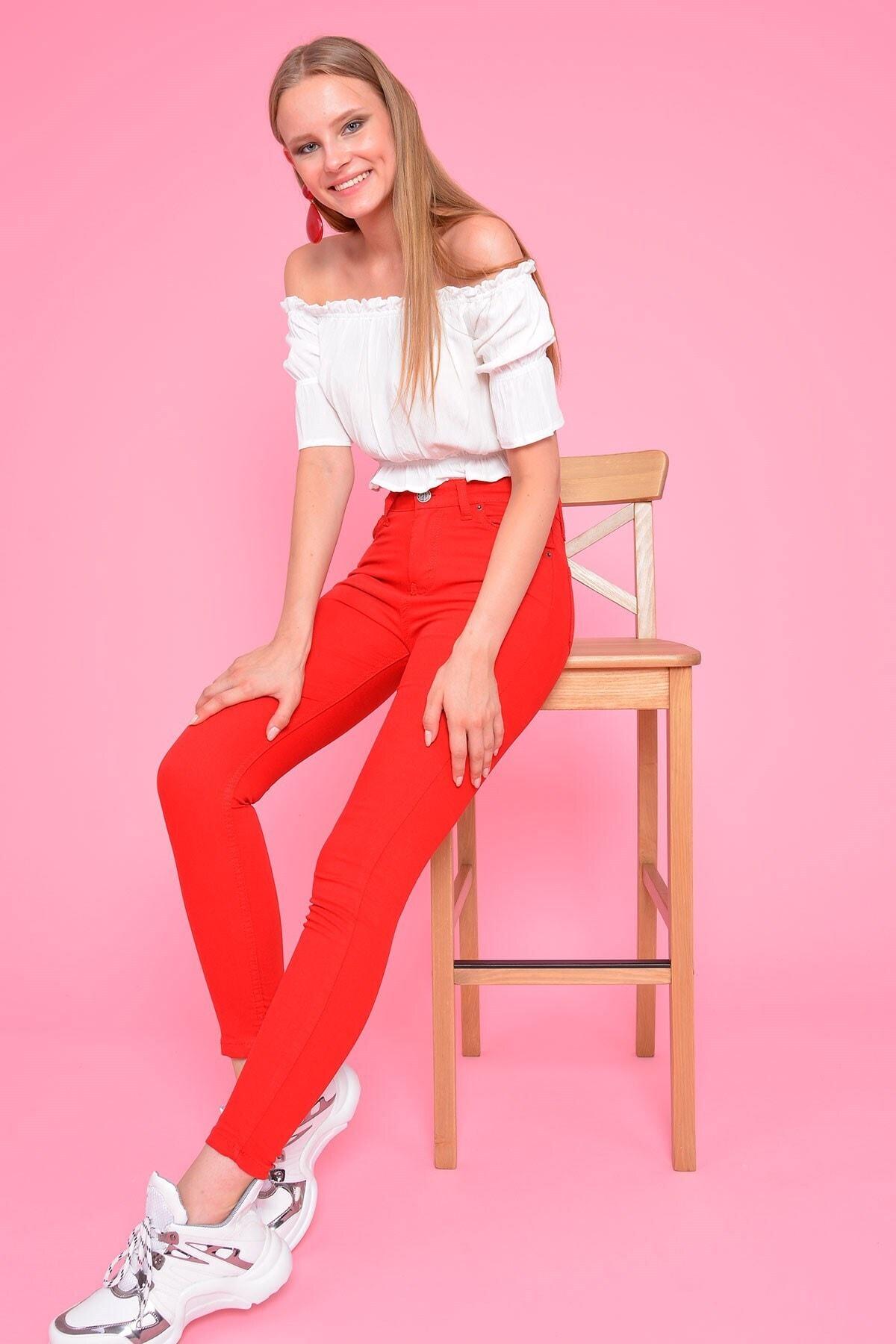 Mossta Kadın Kırmızı Yüksel Bel Gabardin Pantolon 2