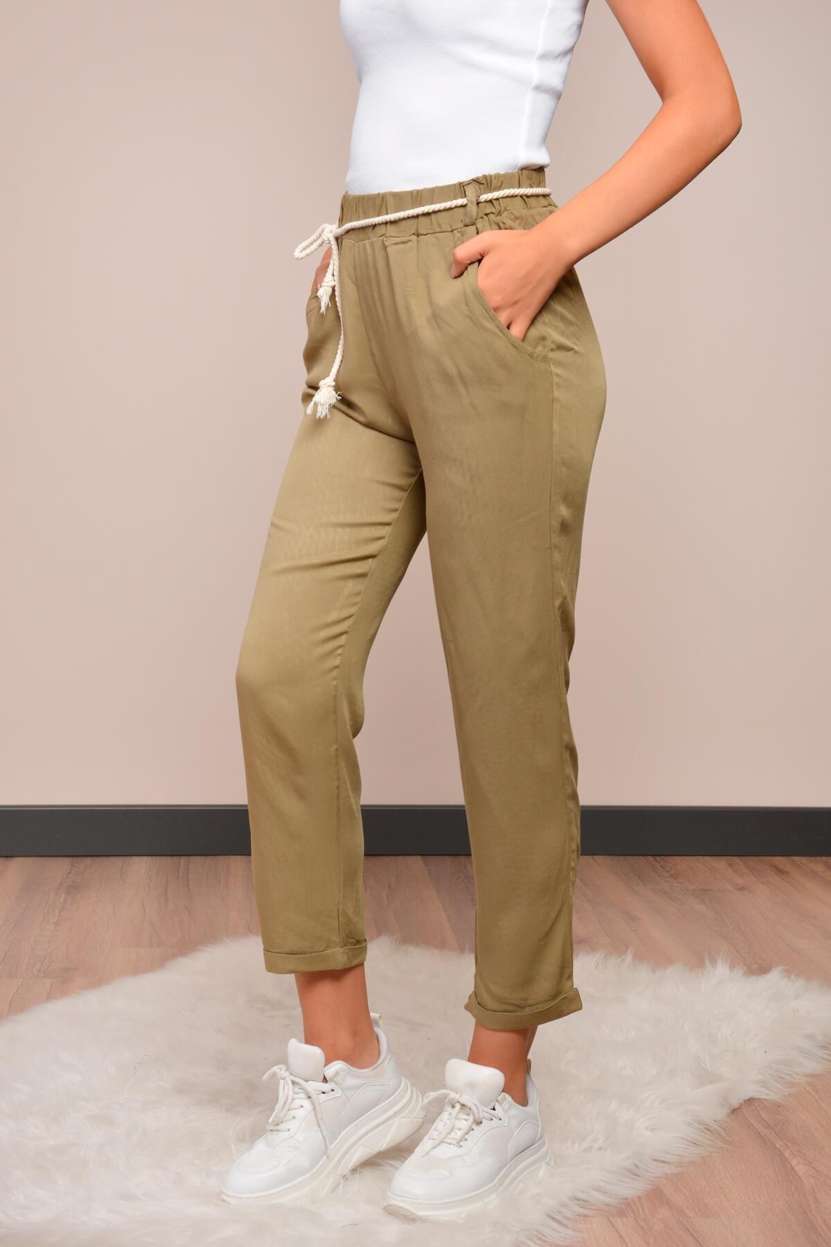 Mossta Kadın Haki Halat Kemerli Havuç Pantolon 2