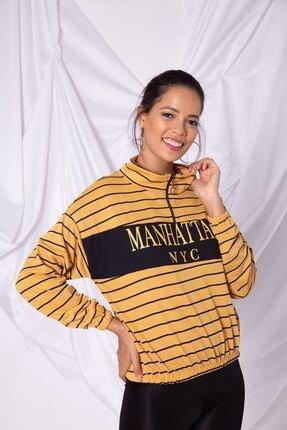 Zafoni Kadın Sarı Çizgili Etek Ucu Lastikli Yarım Fermuarlı Sweatshirt