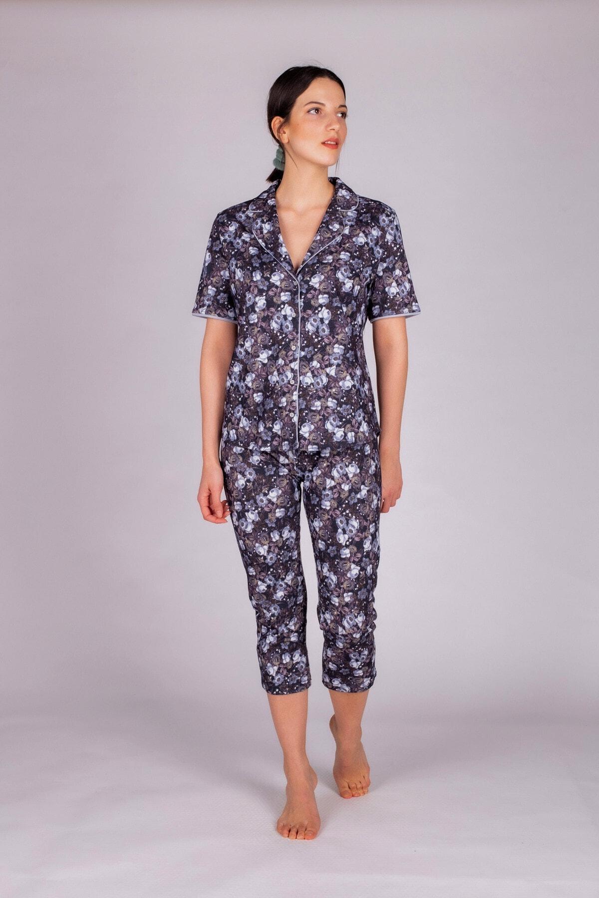 Hays Kadın Mavi Baskılı Kapri Pijama Takımı 2