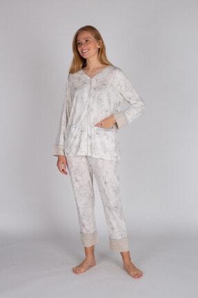 Hays Kadın Bej Melanj Modal Uzun Pijama Takımı