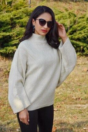 Mossta Kadın Bej Yarasa Kol  Triko Kazak
