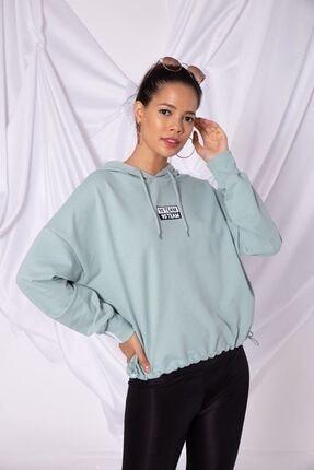 Zafoni Kadın Yeşil Kol Ucu Şeritli Kapüşonlu Sweatshirt