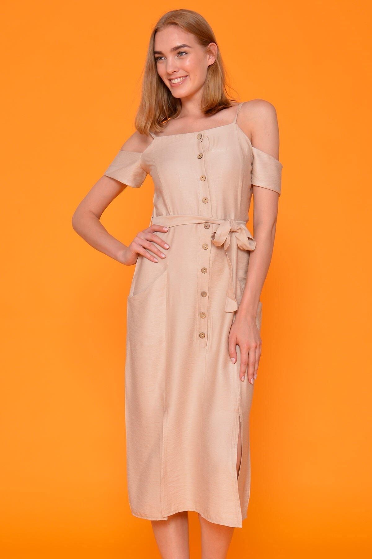 Mossta Kadın Bej İp Askı Keten Elbise 1