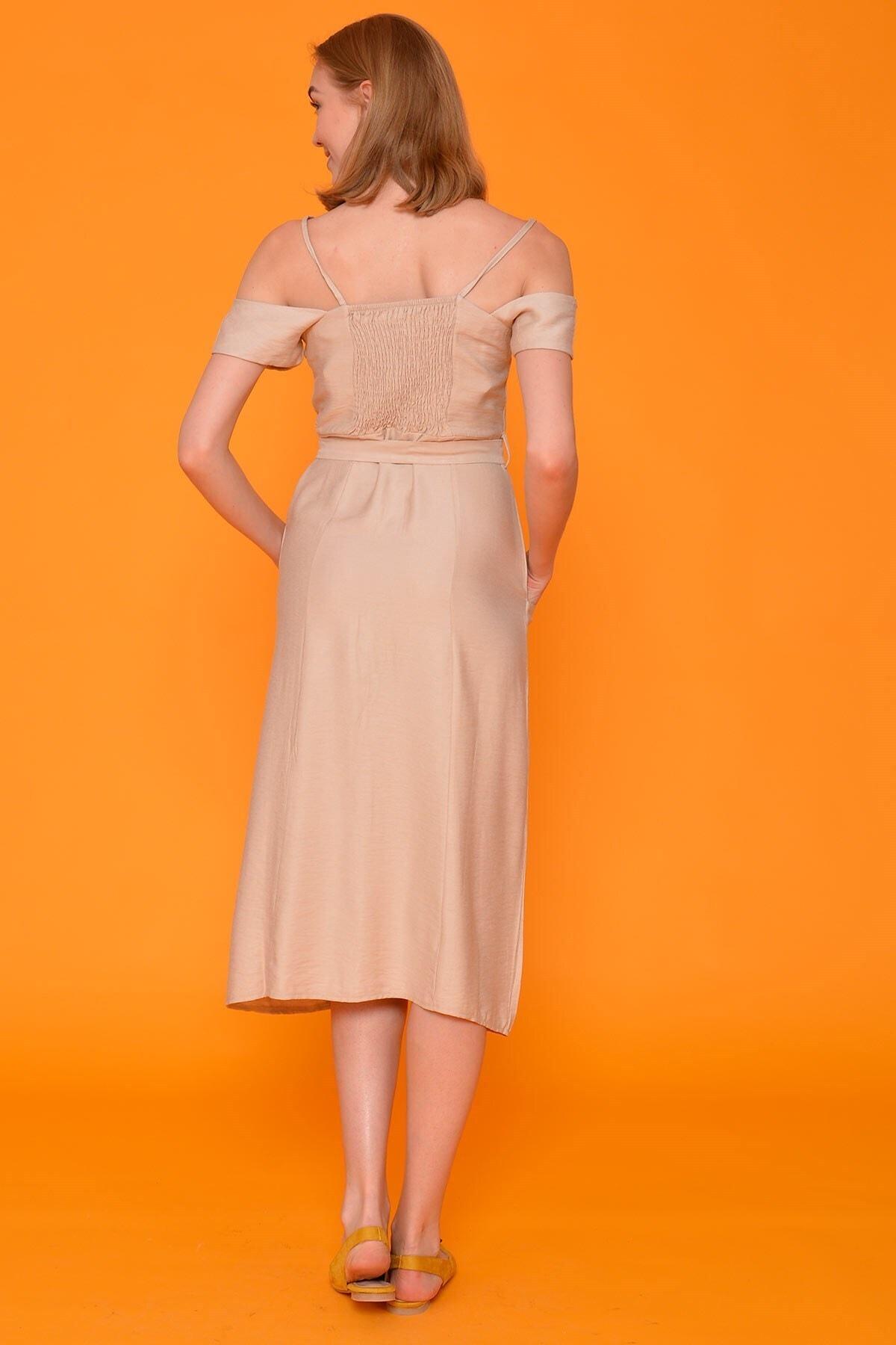 Mossta Kadın Bej İp Askı Keten Elbise 2