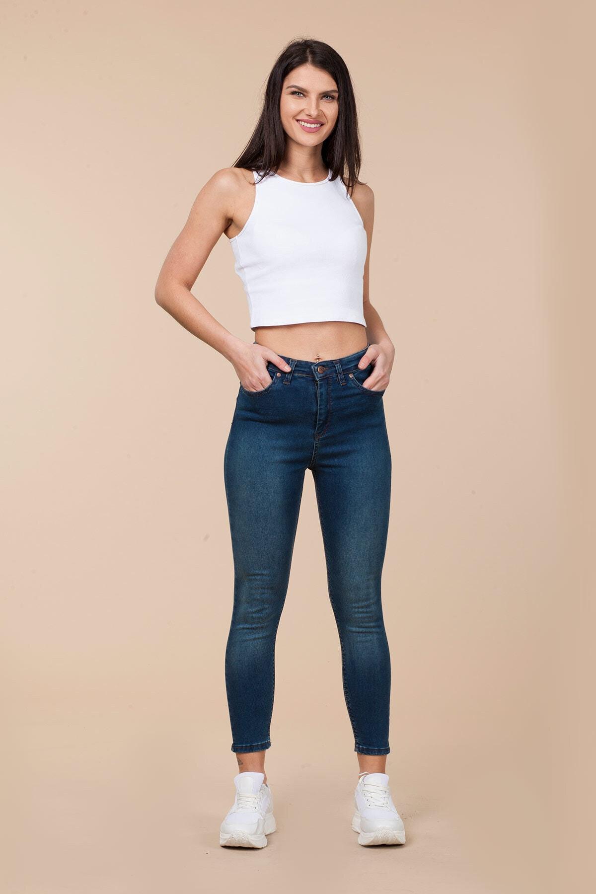 Mossta Kadın Mavi Yüksek Bel Likralı Jean 1
