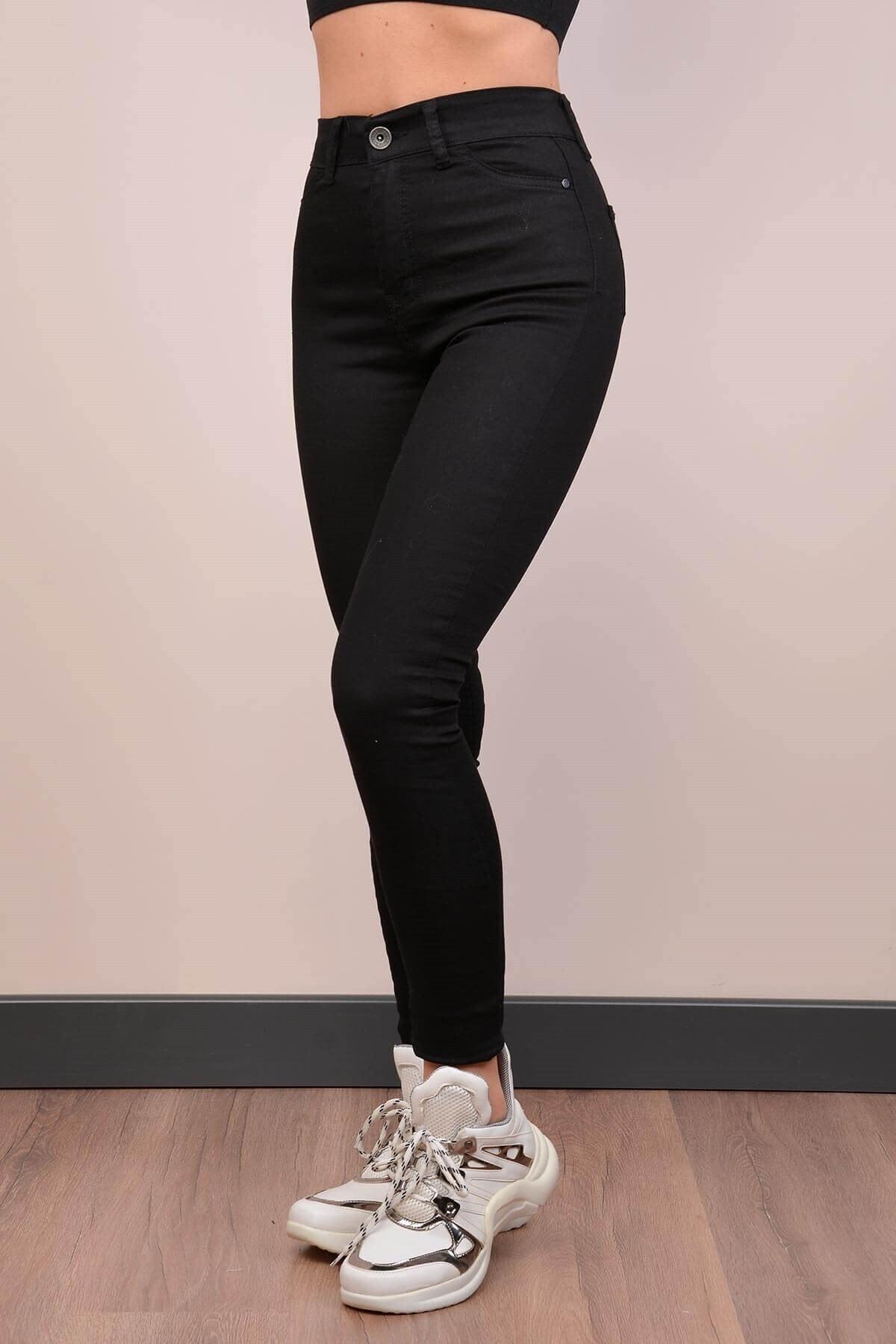 Mossta Kadın Siyah Yüksek Bel Gabardin Pantolon 2