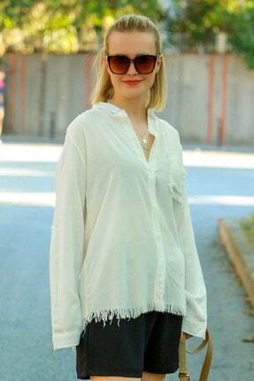 Madmext Kadın Beyaz Püsküllü Gömlek Mg617-1