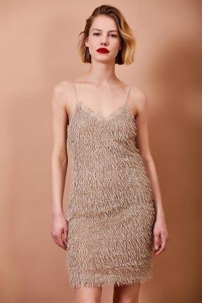 Mossta Kadın Bej Püskül Detaylı Askılı Elbise