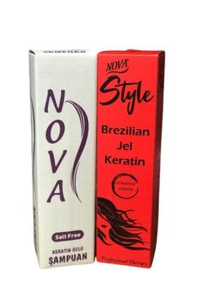Nova Style Brezilya Jel Keratin 1000 Ml+keratin Özlü Tuzsuz Şampuan 1000 Ml.