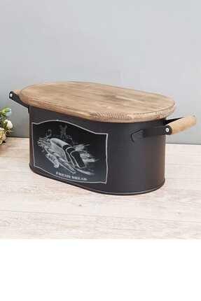 Paçi Mtl-200357 Metal Siyah Kesme Tahtalı Ekmeklik